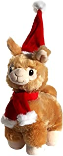 ColorBoxCrate Christmas Llama Stuffed Animal Plush Toy, Soft 11 inch Tall Tan Best Stuffed Llama Gift with Red and White Santa Hat and Winter Scarf, Xmas Holiday Llama Christmas Stocking Stuffer
