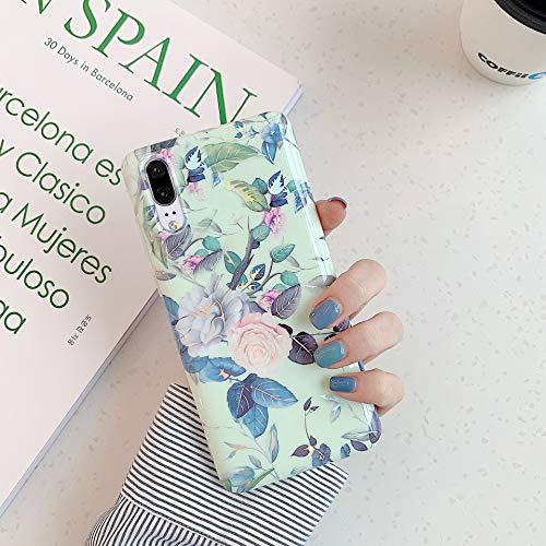 Herbests Kompatibel mit Huawei P20 Hülle Transparent Silikon Blumen Schutzhülle Glitzer Glänzend Bunt Ultra Dünn weiche Silikon Handyhülle Tasche Rückschale Crystal Case,Grün