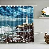 XCBN Seaside Shell Tiere Dinosaurier Weltkarte Flagge Duschvorhänge Bad Vorhang Stoff wasserdicht mit Haken A9 180x200cm