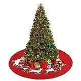 WYDM Falda de árbol de Navidad, decoración de Navidad de Fieltro, Cubierta de Falda de árbol en Rojo, patrón de Reno de Trineo de Papá Noel, decoración de Fiesta en casa de Vacaciones de Navidad