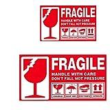 112 PZ Etichetta adesiva di avvertimento con impugnatura fragile Conservare con cura verso l'alto scatola di imballaggio Avviso di spedizione Adesivi rossi Grandi (15 * 9 cm) e Piccoli (5 * 9 cm)