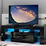 Leisure Zone TV Stand Unit, Modern TV cabinet in Black Matt and Black High Gloss for Living Room with LED lights (Black)