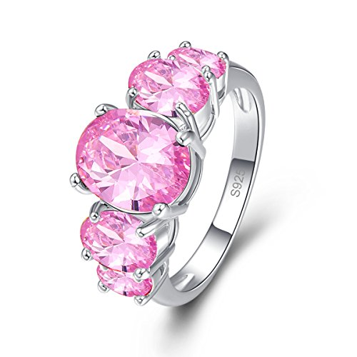 Psiroy 925 Sterling Silver Created Pink Topaz Filled 5 Stone Engagement Ring Band Size 8