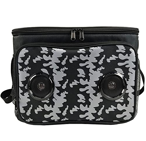 Cooler Bag with Speakers Bluetooth Rechargeable Battery Insulated Leakproof Collapsible 24 cans 2 gallons Food Drinks Stereo Bluetooth for Android & iOS