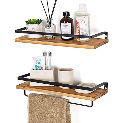 Floating Wood Shelves Set of 2, Bathroom Storage Shelf Wall Mounted, Rustic Wood Store Shelves with Towel Bar, Mounted Wall Shelves for Bedroom,Kitchen,Living Room (Brown)