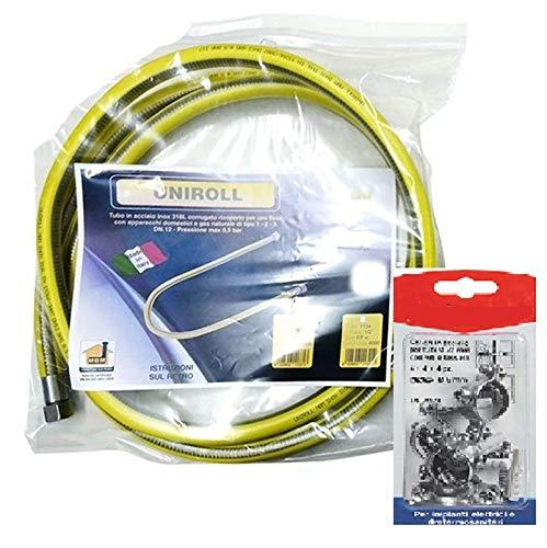 Tubo flessibile gas 5 mt metri 1/2 FF inox a norma EN 15266 e 4 fisher piano cottura/cucina UNIROLL