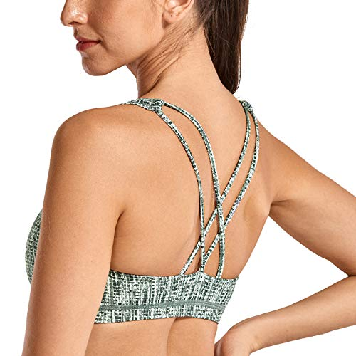 CRZ YOGA Women's Light Support Cross Back Wirefree Removable Cups Yoga Sport Bra Stripe...