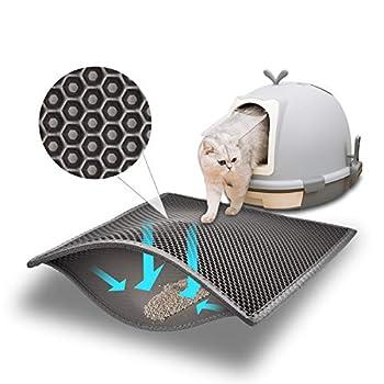 Pieviev Tapis Litière Chat 61x38cm Bac à Litière pour Chats, Imperméable Non Toxique EVA,Double Couche en Nid d'abeille Design (Noir) (Gris)