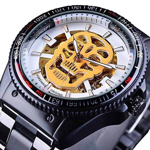 Excellent Reloj Masculino Reloj mecánico automático para Hombres Reloj de Pulsera Casual de Negocios con Correa de Acero Inoxidable Dial Redondo 3ATM 30 Metros Resistente al Agua,A03