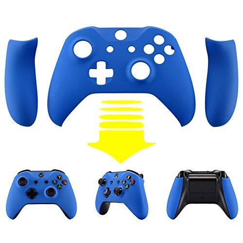 eXtremeRate Hülle Case Cover Matt Gehäuse Schutzhülle Schale Faceplates mit 2 Griff Seitenteilen für Xbox One S/Xbox One X Controller(Blau)