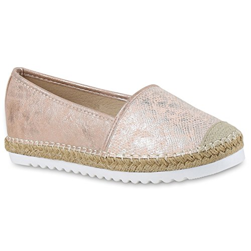 stiefelparadies Damen Espadrilles Metallic SlipperBast Profilsohle Flats Freizeit Glitzer Prints Spitze Schuhe 131120 Rosa 36 Flandell