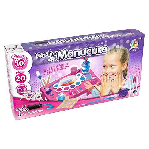 Science4You - Atelier Manucure Enfant - Jeu Créatif Fille - Kit Cosmétique - Création Vernis - Activité Manuelle - Expériences Scientifiques - Educatif et Ludique - Bar à Ongles - Cadeau Fille 8 ans