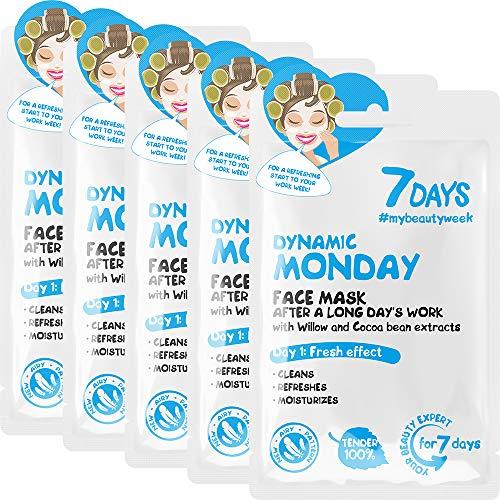 7DAYS Monday Masque Facial Tissu 5 Pièces Routine Quotidienne Anti-acné Pour tous types de Peaux
