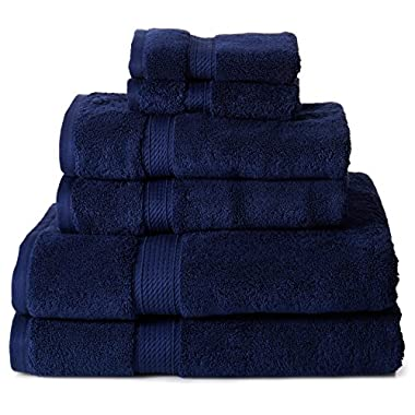 Superior 900 GSM Luxury Bathroom 6-Piece Towel Set, Made of 100% Premium Long-Staple Combed Cotton, 2 Hotel & Spa Quality Washcloths, 2 Hand Towels, and 2 Bath Towels - Navy Blue
