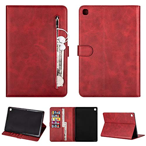 SEEYA Tablet Case for Samsung Galaxy Tab S5e 10.5 2019 SM-T720 / T725 PU Leather Tablet Magnetic Clasp Protective Case Wallet Smart Zipper Flip Cover with Stand Card Slots Red