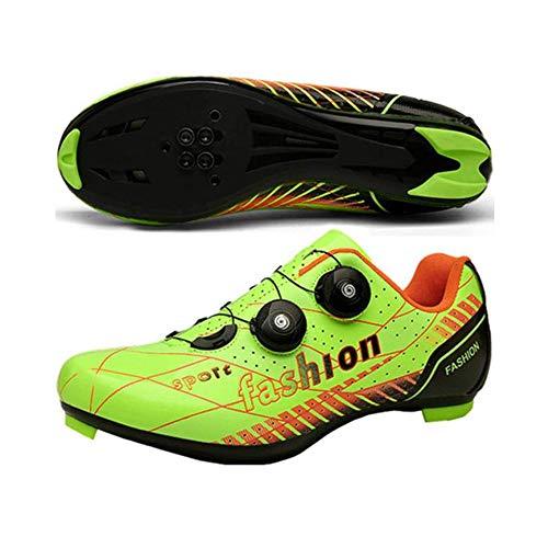 JINFAN Zapatillas De Ciclismo De Carretera para Hombre - Zapatillas De Microtex Premium con Tacos Zapatillas De Spinning SPD para Hombre,Green-EU41