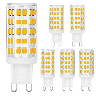 BALDER G9 6W Dimmable LED Bulb, 60W Halogen Bulb Replacement, Warm White 3000K, Bi Pin,6-Pack