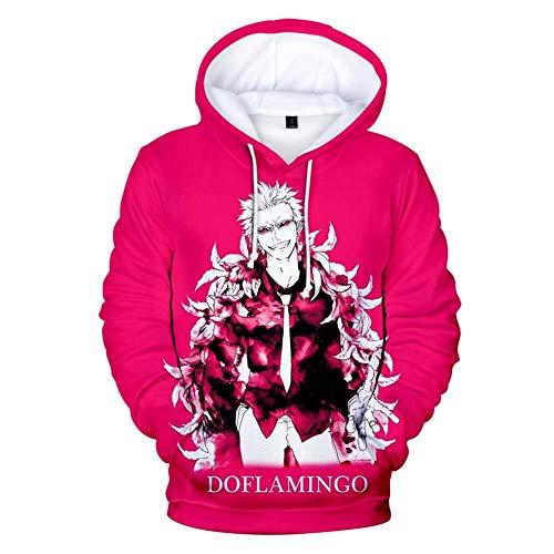 Zcbm Kapuzensweatshirt Unisex Top Langarm Pullover Pullover Sport Im Freien Sweatshirts Kapuzenpullover 3D Print Anime ONE Piece Donquixote Doflamingo Kleidung Outwear,M