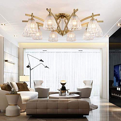 YANGQING Lámpara de luz LED American transparente vidrio salón comedor Den dormitorio techo lámpara iluminación lámparas 8 87 cm * 29 cm