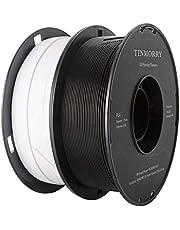 TINMORRY PLA-filament, 1,75 mm, 3D-printerfilament, Tangle-Free Filament-3D-printmaterialen, 2 kg, 2 spoel, zwart + verkeerswit