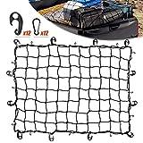 Cargo Bungee Net 3x4 Ft Heavy Duty Net Bed for Pickups SUVs Van/ 6x8 Ft Max Bed Net Storage for Trailer Truck Boat,Handmade Knotting Mesh,12 Metal Carabiners & 12 Plastic Hooks ,Storage Bag