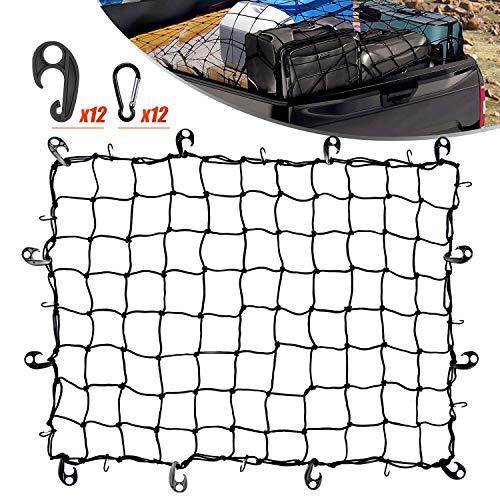 Cargo Net for Pickups 3x4 Ft Heavy Duty Net Bed for SUVs Van/ 6x8 Ft Max Bed Net Storage for Trailer Truck Boat,Handmade Knotting Mesh,12 Metal Carabiners & 12 Plastic Hooks ,Storage Bag