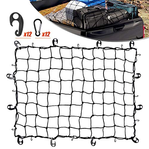 Cargo Bungee Net 3x4 Ft Heavy Duty Net Bed for Pickups SUVs Van/ 6x8 Ft Max Bed Net Storage for Trailer Truck BoatHandmade Knotting Mesh12 Metal Carabiners amp 12 Plastic Hooks Storage Bag