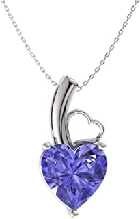 Diamondere Natural and Certified Heart Cut Gemstone Solitaire Petite Necklace in 14k White Gold | 0.32 Carat Pendant with Chain