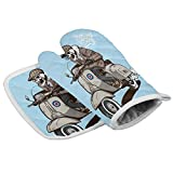 Durable Kitchen Insulated Gloves - Non-Slip, Heatproof, Microfiber Oven Mitts and Pot Holders with Cotton Infill for Cooking Baking Grilling, Blue Scooter Boy Riding the Motorcycle