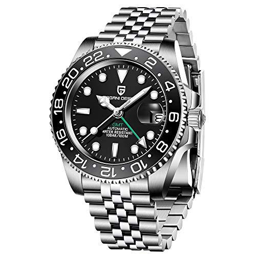 Pagani Design 40mm GMT automático Mens relojes mecánicos de acero inoxidable impermeable cristal zafiro luminoso reloj de pulsera para hombres bisel de cerámica PD-1662, Negro, Mecánico