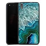 DeinDesign Silikon Hülle kompatibel mit Huawei Y6 2016 Hülle schwarz Handyhülle Blau Stein Marmor