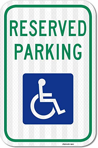 eSplanade Adhesivo reflectante para aparcamiento reservado de Handicap – Fácil de montar resistente a la intemperie – Tamaño – 30,48 x 45,72 cm