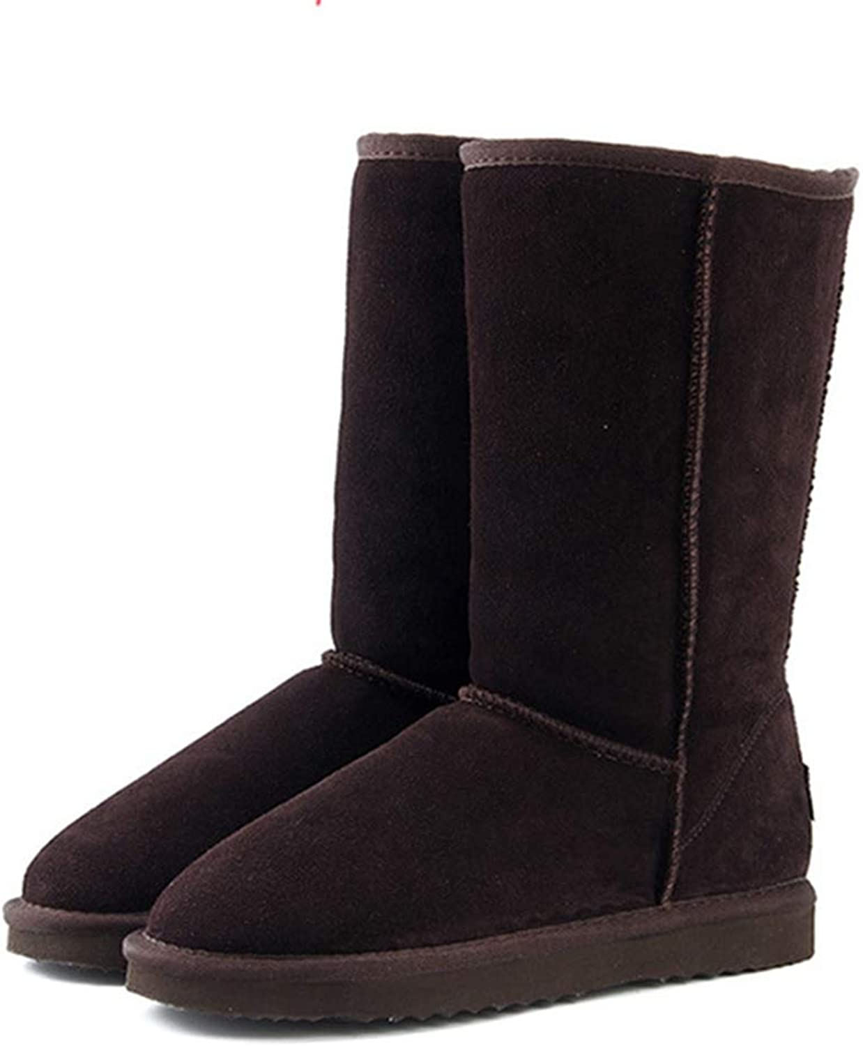 Fay Waters Women's Winter Warm Sheepskin Leather Fur Lined Short High Tall Wool Thigh Snow Boots