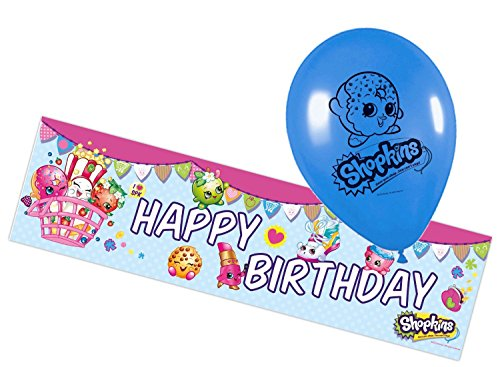 Kit de décorations - 1 Guirlande et 5 ballons - Shopkins