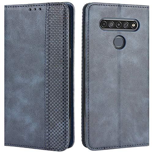 HualuBro Handyhülle für LG K61 Hülle, Retro Leder Stoßfest Klapphülle Schutzhülle Handytasche LederHülle Flip Hülle Cover für LG K61 Tasche, Blau