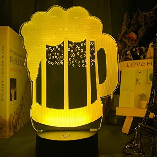 Beer Glass Night Light Led Touch Sensor Color Changing Nightlight for Bar Decor Sign for Friends Beer Mug 3D Lamp Usb