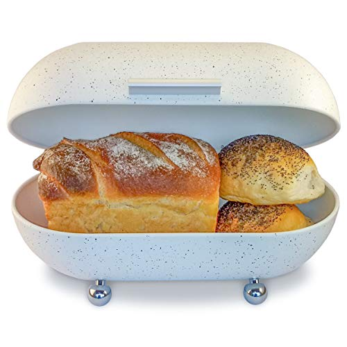 Large White Bread Box for Kitchen Countertop - Modern Metal Bread Box in Vintage Powder Coated Bread Bin Style with Hinged Lid - Dry Food Storage Container for Loaves, Bagels and More 13' x 7' x 8'