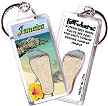"product image for Jamaica ""FootWhere"" Key Chain (JM105 - Oceanview). Authentic Destination Souvenir acknowledging Where You've Set Foot. Genuine Soil of Featured Location encased Inside Foot Cavity. Made in USA."