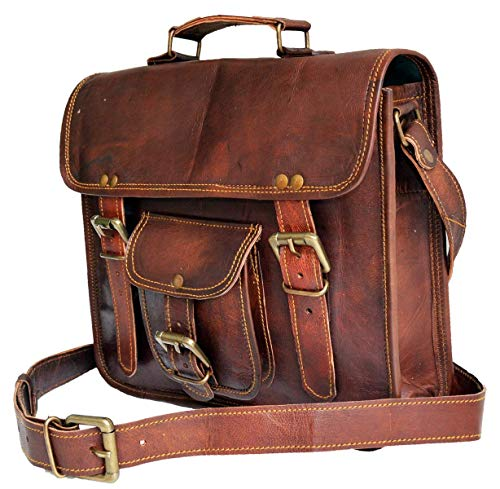 11' small Leather messenger bag shoulder bag cross body vintage messenger bag for women & men satchel man purse competible with Ipad and tablet