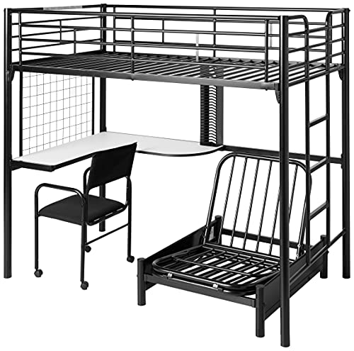 Hot Sale Coaster Fine Furniture 2209 Metal Bunk Bed with Futon/Desk/Chair and CD Rack, Black Finish