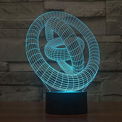 3D Lámpara de Luz de Noche ring regalo de cumpleaños para jóvenes, niñas Con interfaz USB, cambio de color colorido