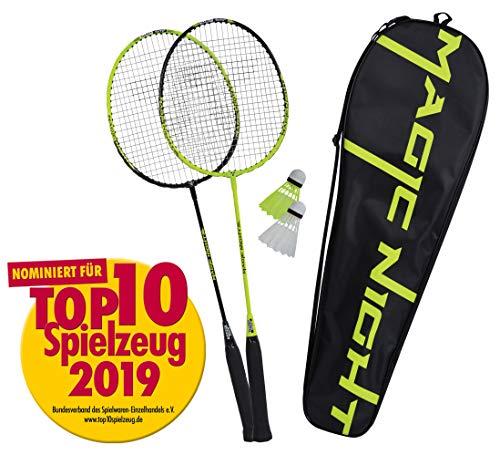 Talbot Torro 449405 Set de Badminton Magic Night, 2 Raquetas y 2 Volantes con LED Jugar por la Noche, en un Valioso Bolso