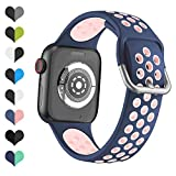 YPSNH Compatible con Correa Apple Watch 38mm 40mm 42mm 44mm Silicona Suave Sports Dual Color Correa de Reloj de Repuesto para iWatch Series 6/5/4/3/2/1/SE/Sport/Edition para Mujeres Hombres
