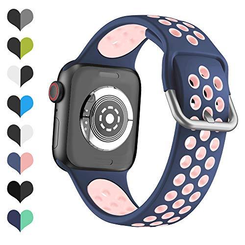 YPSNH Compatible con Correa Apple Watch 38mm 40mm 42mm 44mm Silicona Suave Sports Dual Color Correa de Reloj de Repuesto para iWatch Series 6/5/4/3/2/1/SE/Sport/Edition para Mujeres Hombres