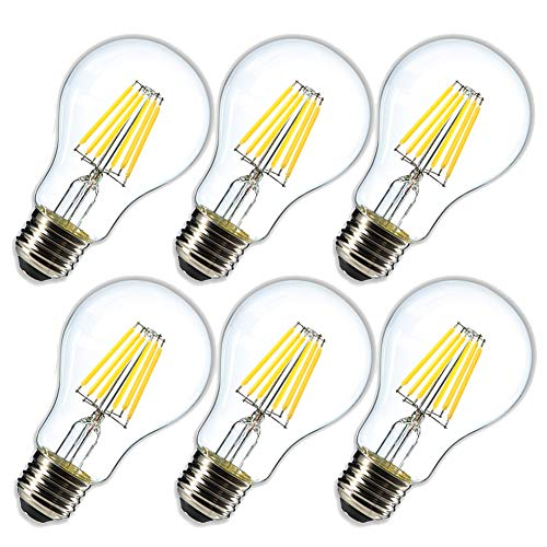 Dimmable 6W Vintage LED Edison Bulb 4000K Daylight White A19 /A60 LED Light Bulbs 600LM Led Filament Bulb 60W Equivalent E26 Medium Base Clear Glass , 6 Pack