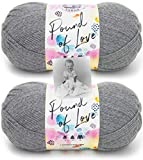 Lion Brand Pound of Love Yarn - 2 Pack with Pattern (Oxford Grey)