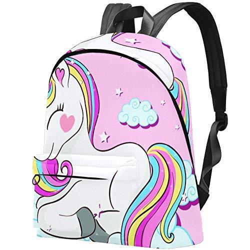 Pinker niedlicher Rucksack mit Einhorn auf Wolken für Laptops, Schulrucksack, wasserabweisend, lässiger Rucksack für Damen/Mädchen/Business