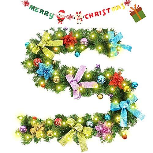 Enhome Weihnachtsgirlande mit Beleuchtung, 2.7 Meter Tannengirlande Bogen-Knoten Weihnachtsdeko Weihnachtstürdekor 8 Modus Lichterkette für Innen und Außen Verwendbar (2.7M/100Led,Mehrfarben)