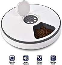 XIAPIA Automatic Pet Feeder with Timer for Cats & Dogs, Suits Dry or SEMI Food for Kitten & Puppy, Portion Control, Dishwasher-Safe 2oz x 6-Meal