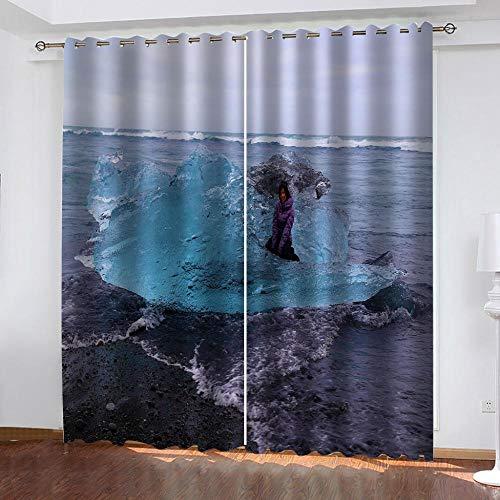Agvvseso Schlafzimmer 3D Blackout Vorhänge Kreative Ozeanwellenlandschaft ,100% Polyester 3D-Druck Schattierungsvorhang 2 Panels Wohnzimmer Esszimmer Kinderzimmer (B)140x(H)160 cm Hotel Balkon Fenst